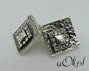 Kolczyki oksydowane srebro kryształki - 2823480866
