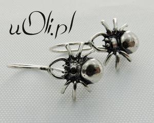 Srebrne kolczyki pająk pajączek - 2823480885