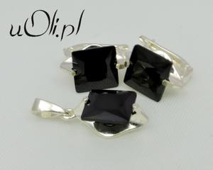Komplet wisiorek kolczyki czarna cyrkonia - 2823480157