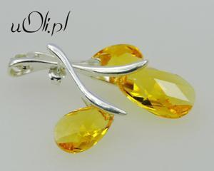 Komplet kolczyki wisiorek Swarovski żółty LIGHT TOPAZ - 2823480176