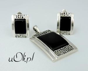 Niesamowity komplet onyks oryginalny styl KLIPSY - 2823480507