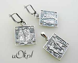 Wisiorek i kolczyki z motywami egipskimi - 2823480270