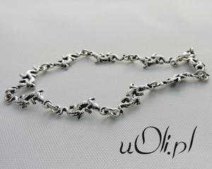 Bransoletka oksydowane srebro jaszczurki !!! - 2823481165