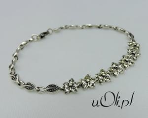 Stylowa bransoletka kryształki oksydowane srebro - 2823481204