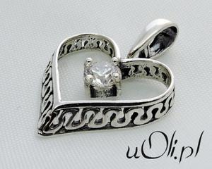 Serce cyrkonia oksydowane srebro walentynki - 2823481342