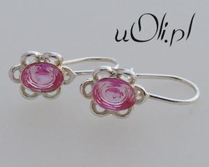 KOLCZYKI krysztalki delikatne różowy krysztal - 2823480899