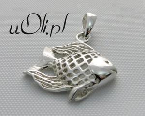 Wisiorek rybka, białe srebro 925 - 2823481401