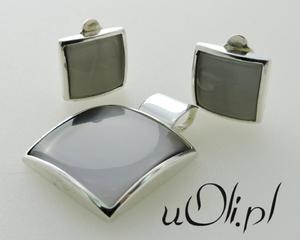 Komplet klipsy wisiorek szare kocie oko srebro - 2823480515