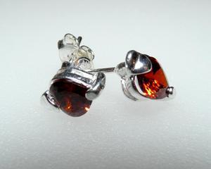 Kolczyki w kształcie serca cyrkonia granat srebro - 2823480912