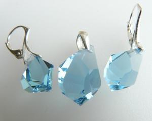 Komplet kolczyki wisiorek Swarovski aquamarine - 2823480296