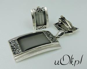 Klipsy i wisior oryginalny styl szare kocie oko - 2823480517
