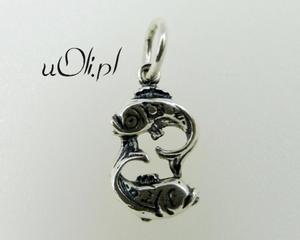 Znak zodiaku Ryby - oksydowane srebro - 2823481414