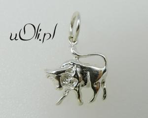 Znak zodiaku -białe srebro- Byk - 2823481415