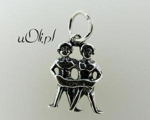 Znak zodiaku Bliźnięta- oksydowane srebro - 2823481416