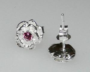 Kolczyki delikatne różyczki z różowym kryształkiem - 2823480929