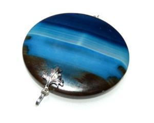 Wisiorek szafirowy agat oksydowane srebro - 2823481430