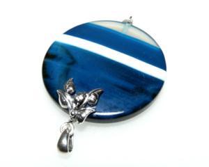 Wisiorek szafirowy agat oksydowane srebro - 2823481431