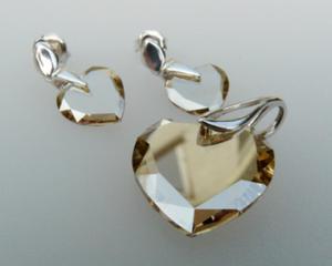 Komplet kolczyki wisiorek serce cristal gold shadow - 2823480314