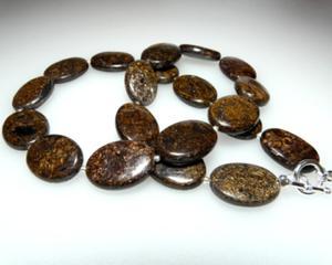 Bronzyt owal naszyjnik srebro - 2823480740