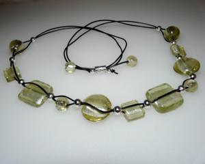 Naszyjnik zielonkawe szkło weneckie rzemień skóra - 2823481582