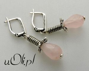 Kolczyki fasetowany kwarc różowy srebro - 2823480962