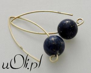 Kolczyki lapis lazuli srebro złocone - 2823480963