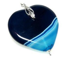 Wisiorek szafirowe serce agat oksydowane srebro - 2823481449