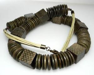 Naszyjnik kokos i skóra wężowa oliwkowy - 2823481586