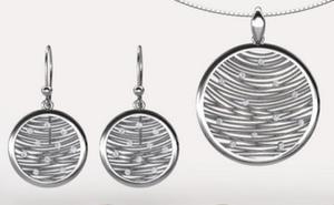 Kolczyki i wisiorek srebro rodowane