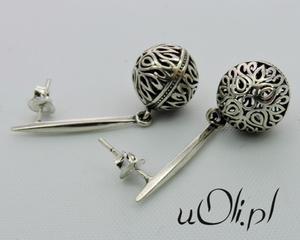 Kolczyki ażur filigran kulki srebro oksyda - 2823480994