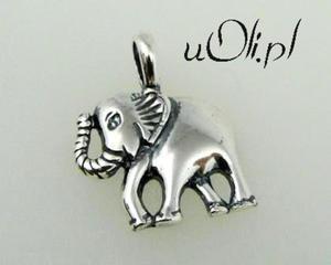 Wisiorek słoń srebro - 2823481479