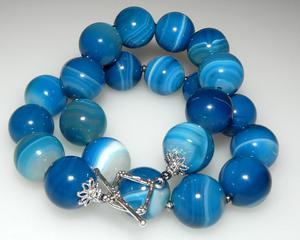 KORALE agat niebieski szafirowy kule 18 hematyt - 2823481291