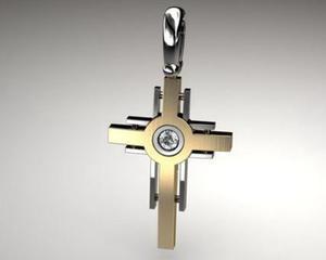 KRZYŻYK krzyż srebro rodowane złocone cyrkonia - 2823481675