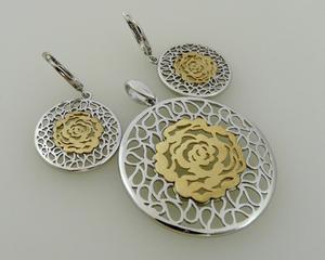 Kolczyki i wisiorek srebro złocone róża