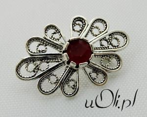 Broszka motyw roślinny rubin filigran - 2823480458
