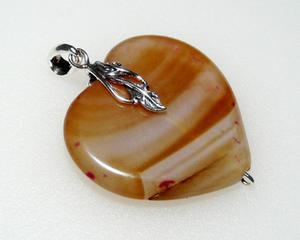 Wisiorek biało-brązowe serce agat srebro - 2823481501
