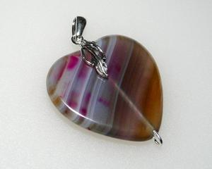 Wisiorek różowo-brązowe serce agat srebro - 2823481504