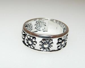 Ażurowe kwiaty pierścionek obrączka r. 14-15 - 2823480636