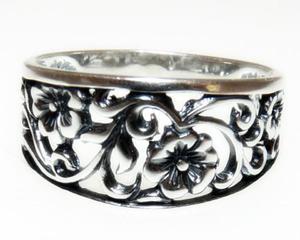 Ażurowe kwiaty pierścionek obrączka r. 14 - 2823480638