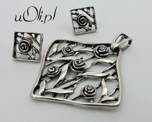 Kolczyki i wisiorek róża srebro komplet - 2823480379