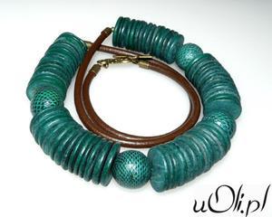 Naszyjnik kokos skóra wężowa zielony - 2823481587