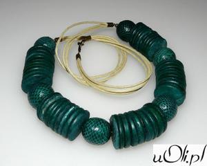 Naszyjnik kokos skóra wężowa zielony - 2823481588