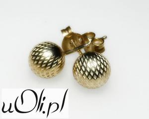 Kolczyki kulki srebro złocone - 2823481043