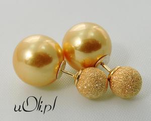 Kolczyki gwiazd kulki perła celebrytki złote - 2823481047