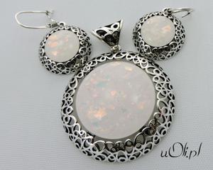 Kolczyki wisior opal srebro komplet - 2823480399