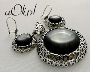 Kolczyki wisior szare kocie oko srebro komplet - 2823480400