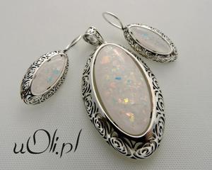 Kolczyki wisior opal srebro komplet - 2823480402