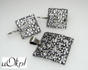 Kolczyki wisior cyrkonia srebro komplet kwiaty - 2823480409