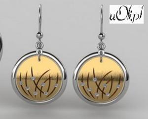 Kolczyki cyrkonie celebrytka srebro złocone - 2823481062