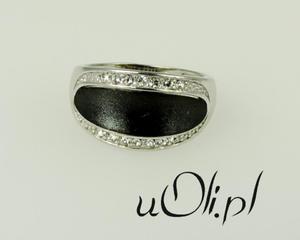 Cyrkonia pierścionek srebro czernione r. 18 - 2823480647